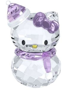 1142949 Hello Kitty Snow, Bow Scarf hat Japanese Cat Violet Crystal Swarovski