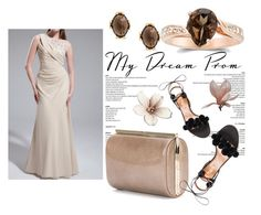 """""""Champagne Sheath Column Scoop Neck Floor Length Chiffon Prom Dress Ruffle Beading Flowers Harry Dress HD22747"""" by harrydress ❤ liked on Polyvore featuring Jimmy Choo and Aquazzura"""
