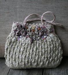 embellished crochet purse