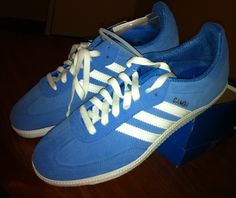 cfbb82f78fa1 New Adidas Samba Classic Blue Suede Soccer Shoes Flats Trainers us 9.5 uk 9