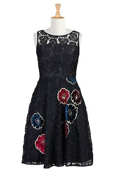 Floral applique lace dress Would be pretty for a Christmas or New Years party.