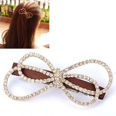 Designs Gold Color Diamond Decorated Bowknot Shape Design Alloy Hair clip hair claw http://earrings.asumall.com/