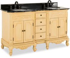 Elements - Hardware Resources LIMITED QUANTITES AVAILABLE double Buttercream vanity w/ Antique Brass hardware, carved floral onlays, French scrolled legs, and preassembled Black Granite top and 2 oval bowls Diy Vanity, Single Bathroom Vanity, Bathroom Sinks, Bathrooms, Cabinet Boxes, Vanity Cabinet, Granite Tops, Black Granite, Antique Sideboard