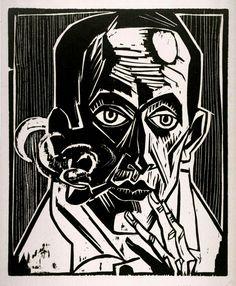 Selbstbildnis mit Pfeife (Raucher) Self-Portrait with Pipe (Smoker) 1921. Max Pechstein. Black and white woodcut