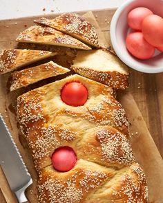 Greek Easter Bread - Traditional Tsoureki Recipe   Kitchn Greek Easter Bread, Easter Bread Recipe, Egg Wash, Dry Yeast, Bread Recipes, Flour Recipes, Bakery Recipes, Greek, Essen