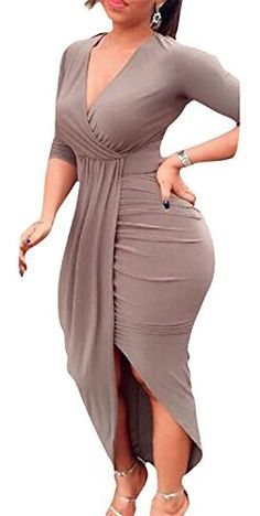 80e1f651ca AM CLOTHES Ruched Dress for Women Sexy Bodycon Asymmetrical Hem V Neck  Medium Beige