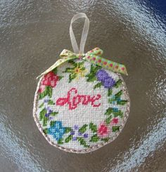 Finished Vintage LOVE Shabby Flowers Needlepoint Made into Christmas Ornament  #handcrafted