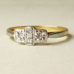 Art Deco Geometric Diamond Ring Platinum and 18k by luxedeluxe, $398.00