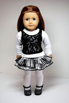 American Girl Doll ClothesRuffled Skirt Shirt by sewurbandesigns use shimmer instead of lace