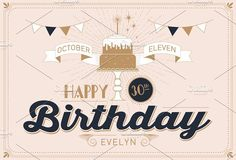 birthday greeting card template by lyeyee on @creativemarket