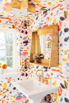 Cottage Home Interior Crazy Colorful Powder Room Amanda Louise Interiors Bathroom Interior, Home Interior, Bathroom Art, Wall Paper Bathroom, Nature Bathroom, Bathroom Laundry, Interior Paint, Master Bathroom, Bathroom Ideas