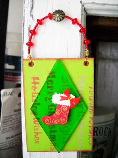 hanging ATC card #christmas #ATC #alteredart #scrapbook