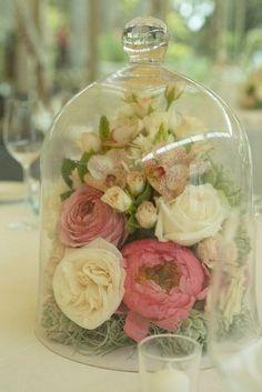 flowers in bell jar wedding centerpiece / http://www.himisspuff.com/glass-cloche-bell-jar-wedding-ideas/5/