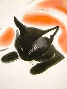 {Black cat asleep under cover, 1940 by Clare Turlay Newberry} Crazy Cat Lady, Crazy Cats, I Love Cats, Cool Cats, Black Cat Art, Black Cats, Gatos Cat, Art Mat, Photo Chat