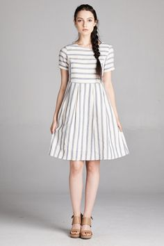The Hayden Dress - adorable striped short sleeved bib dress from brookeandemclothing.com