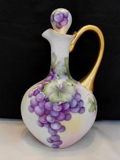 Outstanding Limoges Wine Decanter/Jug with Gorgeous Hanging Grapes & Rich Gold