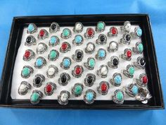 mixed color gemstone fashion rings $1 - http://www.wholesalesarong.com/blog/mixed-color-gemstone-fashion-rings-1/