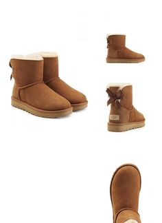 | #UGG #Australia #Boots #Mini #Bailey #Bow aus #Veloursleder #> #Braun #für #Damen
