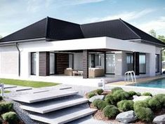 Find home projects from professionals for ideas & inspiration. Projekt domu HomeKONCEPT 32 by HomeKONCEPT Modern Family House, Small Modern Home, Modern House Plans, Small House Plans, Bungalow House Design, Small House Design, Modern House Design, Bungalow Exterior, Morden House
