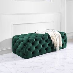 Kaylee Green Velvet Jumbo Ottoman (As Is Item) (Kaylee Jumbo Green Velvet Ottoman), TOV Furniture Tufted Ottoman, Upholstered Bench, Ottoman Bench, Bench Stool, Green Ottoman, Velvet Footstool, Ottoman Storage, Living Room Furniture, Modern Furniture