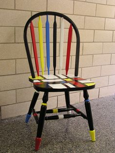 """""""Mondrian"""" chair // I want to try this with my side table that sits in the…"""