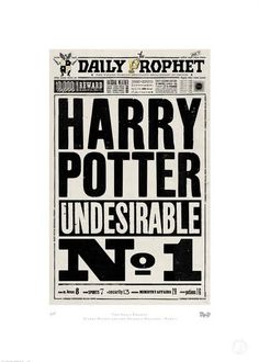 The Printorium, The Daily Prophet™    This is the front page of wizarding newspaper the Daily Prophet. Over the course of the day its news would magically update, however the content was often slanted by the Ministry of Magic. This print was originally designed as a prop for the set of Harry Potter and The Deathly Hallows – Part One.