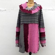 Long Sleeved Recyled Tunic Sweater Plus Size Boho Gypsy