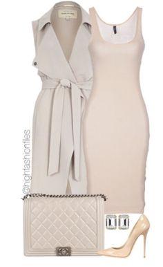 Love the beige, neutral color tones to this ensemble.