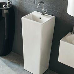Lave mains Totem Brume carré blanc - CASTORAMA