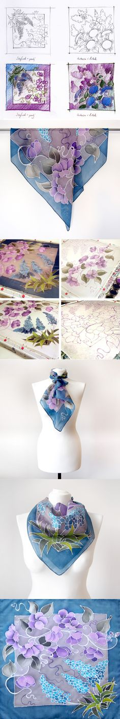 sketch, pictures from painting process and ready silk scarf! #silk #scarf #minkulul #bluescarf