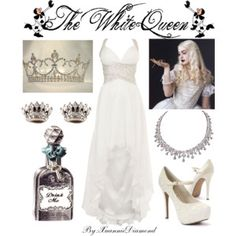 Anne Hathaway is my favorite actress and I love Alice in Wonderland so this fits! Cosplay Outfits, Dress Outfits, Dress Up, Fashion Outfits, Movie Inspired Outfits, Disney Inspired Fashion, Maskerade Outfit, White Queen Costume, Queen Outfit