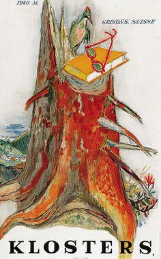 Carigiet Alois, (CH) Klosters - 1250 m Grisons, Suisse, 1947 Retro Poster, Poster Ads, Retro Illustration, Illustrations, Book Cover Design, Book Design, Fürstentum Liechtenstein, Award Poster, Swiss Design