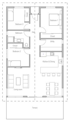 Yet again , bedrooms down one side with bathroom therefore eliminating hallway as not to loose floor space. Needs pantry stolen space from utility would work and small entry room.