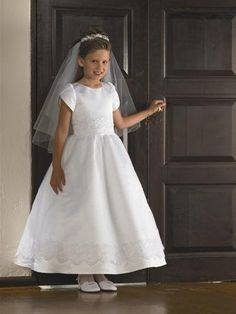Wholesale Cheap Winsome White A-line Satin Short Sleeves Ankle Length Wholesale Gown (BSFCD-037)