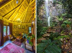 The decor isn't to my taste, but WHAT a location. At the end of a cobblestone driveway fringed by towering mountainside. South African Holidays, Cobblestone Driveway, Self Catering Cottages, Holiday Destinations, Waterfall, Beautiful Places, Home And Garden, House Styles, Travel