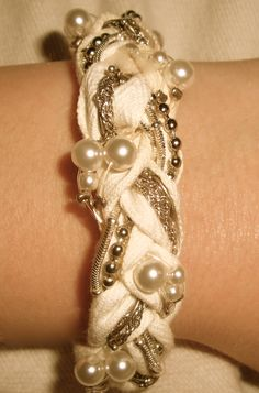 homemade bracelets, braided bracelets, pearls, pearl bracelets, neat crafts, necklac, diy bracelet, jewelri, easi pretti