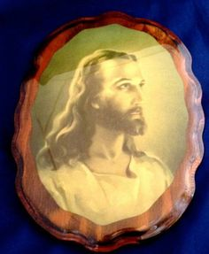 Vintage Jesus Christ Religious Icon Wall Plaque Religion Picture Wood Glossy