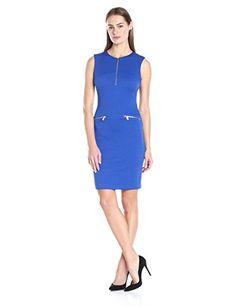 Calvin Klein Women's Textured Sheath Dress with Front Zip - http://bigboutique.tk/product/calvin-klein-womens-textured-sheath-dress-with-front-zip/