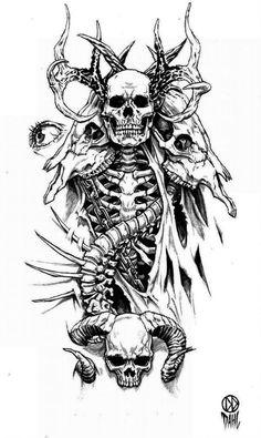 Tattoo Design by DanielDahl on DeviantArt – skull tattoo sleeve Dark Art Drawings, Tattoo Design Drawings, Skull Tattoo Design, Tattoo Sketches, Tattoo Designs Men, Gothic Drawings, Skull Drawings, Creepy Tattoos, Skeleton Tattoos