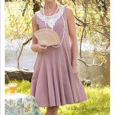 April Cornell Polka Dot Dress And Lace Sz L Nwt