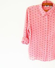 Vintage Bubblegum Pink Polka Dot Slouchy Blouse / 80s Dot Button Up / Candy Pink Polka Dots
