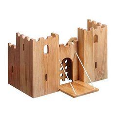 Lanka Kade natural wooden castle play scene - fair trade children's toys