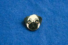 Pug dog wood brooch painted grey dog head animal pet puppy pin gift idea