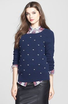 Halogen® Embellished Cashmere Sweater (Regular & Petite)