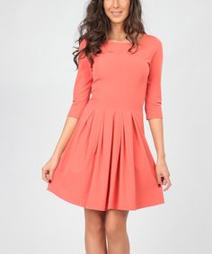 Love this Coral Pleated Fit & Flare Dress on #zulily! #zulilyfinds