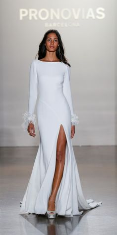 Chic long sleeve Pronovias wedding dress: http://www.stylemepretty.com/2016/10/27/these-gowns-will-literally-take-your-breath-away/ #sponsored