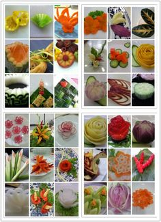 I like food carving. I learnt by myself. Food Garnishes, Garnishing Ideas, Bite Size Food, Funny Fruit, Banana Art, Creative Food Art, Fruit And Vegetable Carving, Best Party Food, Edible Creations