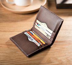 074c6161644f Handmade Leather Mens Cool Slim Leather Wallet Men Small Wallets Bifol –  iwalletsmen Leather Front Pocket