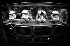 Trooper helmets from the Clone Wars thru the First Order. While we were on or way to meet Kylo Ren.  #starwars #hollywoodstudios #kyloren #gopro #lowlight #monochrome #lrmobile