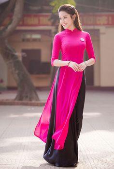 Pink and black (ao dai) Kurta Designs, Kurti Designs Party Wear, Ao Dai, Lovely Dresses, Stylish Dresses, Fashion Dresses, Indian Designer Outfits, Designer Dresses, Vietnamese Clothing